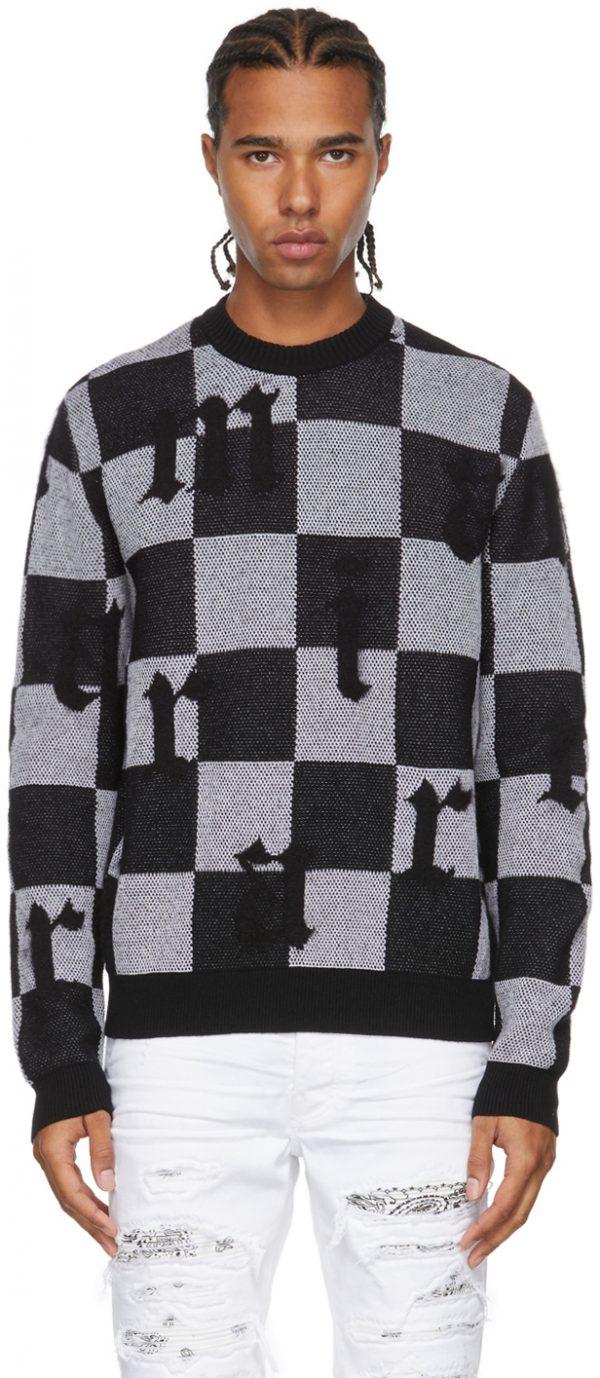 AMIRI Black & White Jacquard Check Logo Sweater