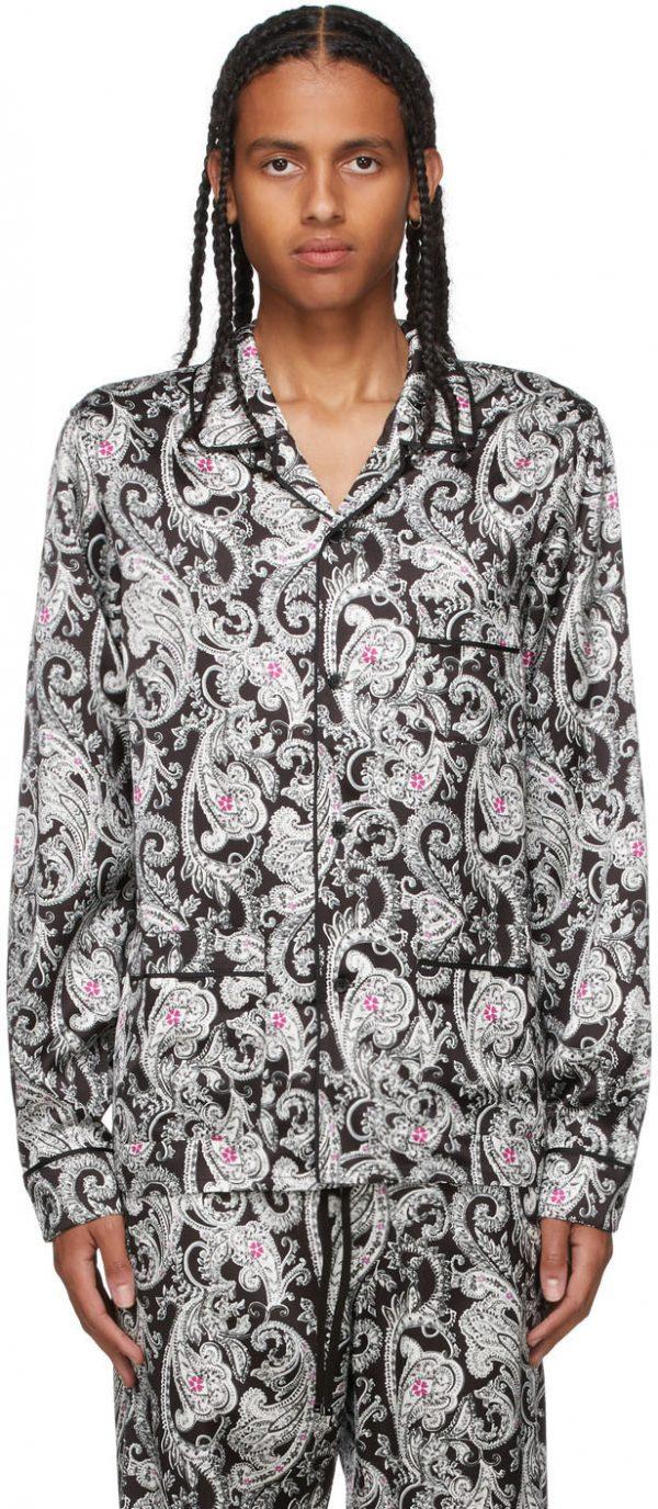 AMIRI Black & White Paisley PJ Shirt