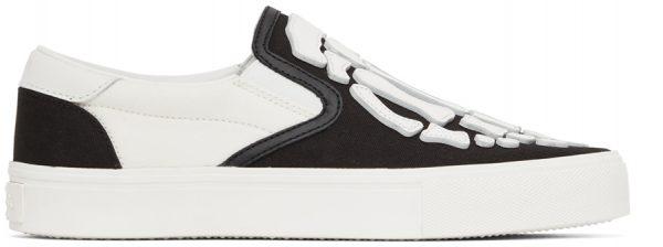 AMIRI Black & White Skel Toe Slip-On Sneakers