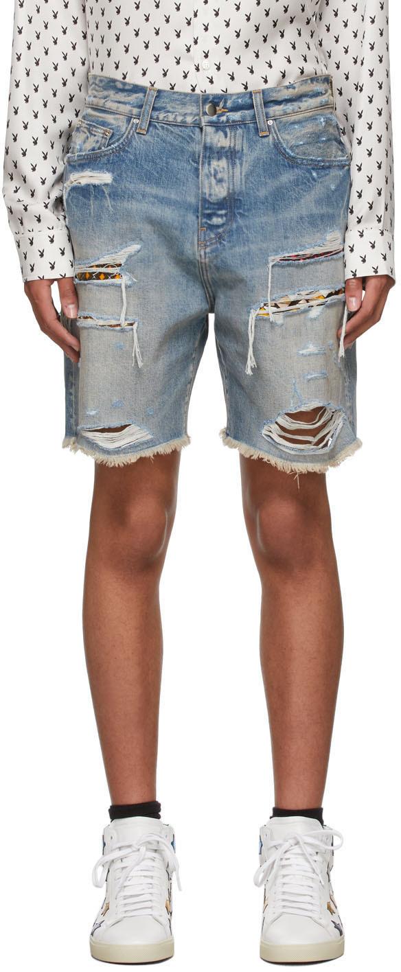 AMIRI Blue Denim PJ Art Patch Shorts