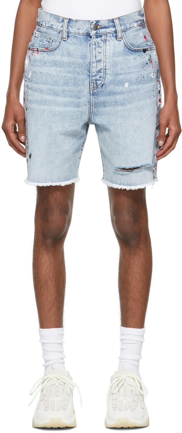 AMIRI Blue Denim Painter Bermuda Shorts