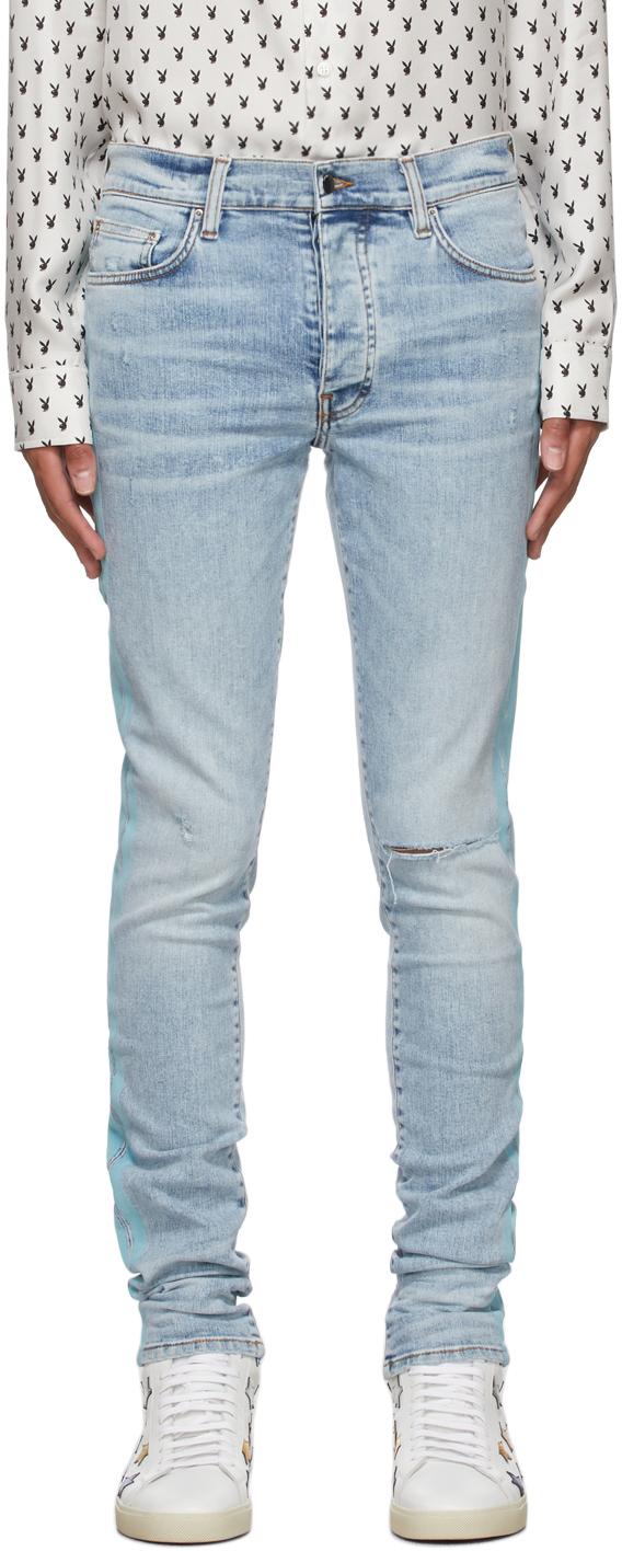 AMIRI Blue Flocked Track Jeans