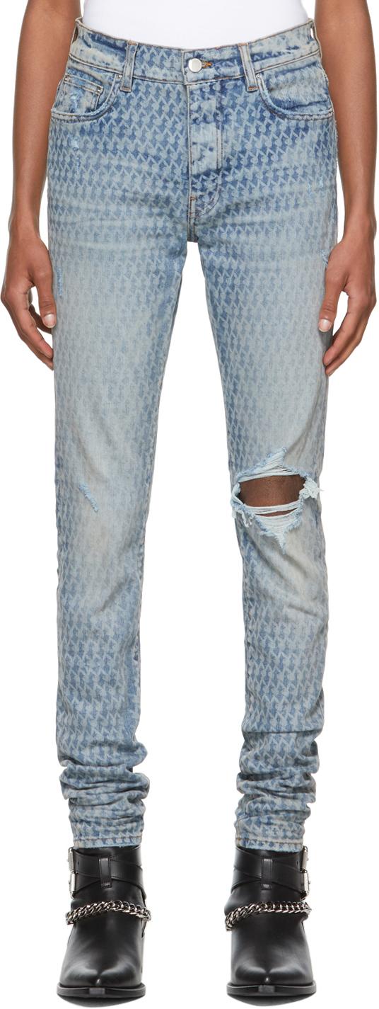 AMIRI Blue Playboy Edition Laser Jeans