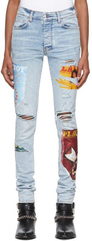 AMIRI Blue Playboy Edition Magazine Jeans