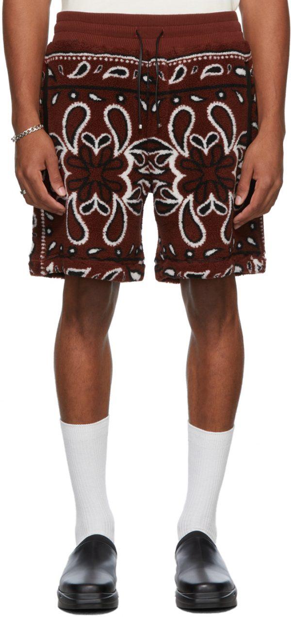 AMIRI Fleece Bandana Print Shorts