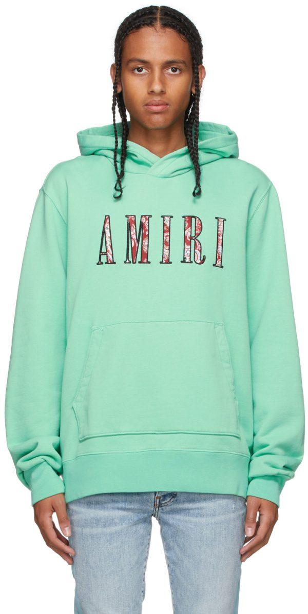 AMIRI Green Paisley Core Logo Hoodie