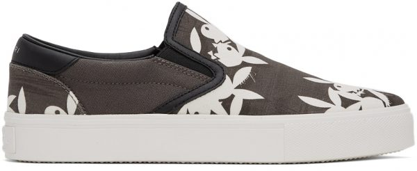 AMIRI Grey & White Playboy Edition Slip-On Sneakers