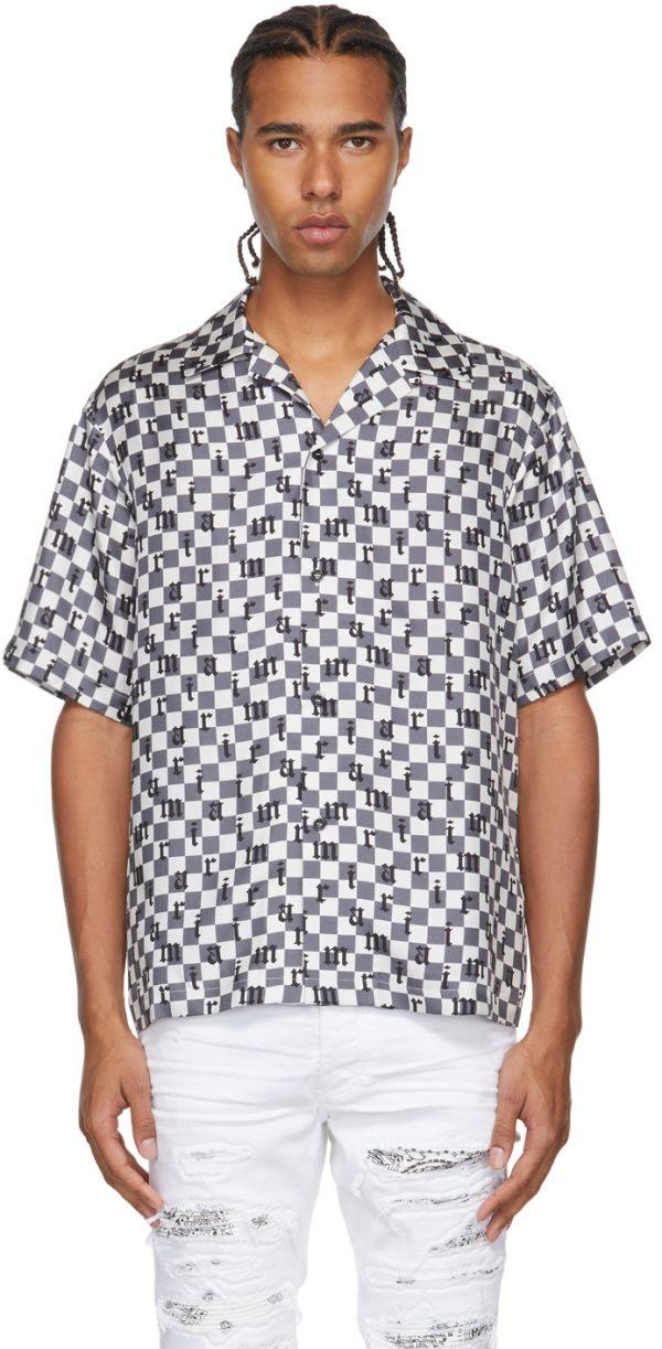AMIRI Grey & White Silk Check Short Sleeve Shirt