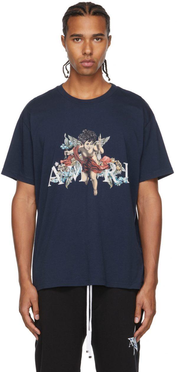 AMIRI Navy Graphic Cherub T-Shirt
