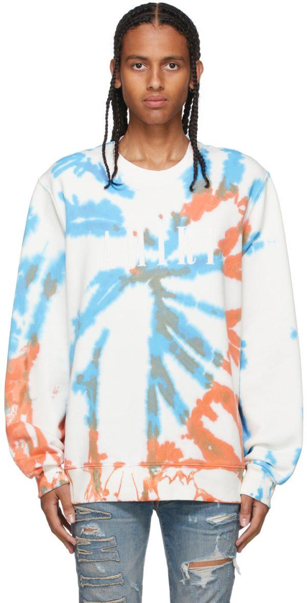 AMIRI Orange & Blue Core Tie-Dye Sweatshirt