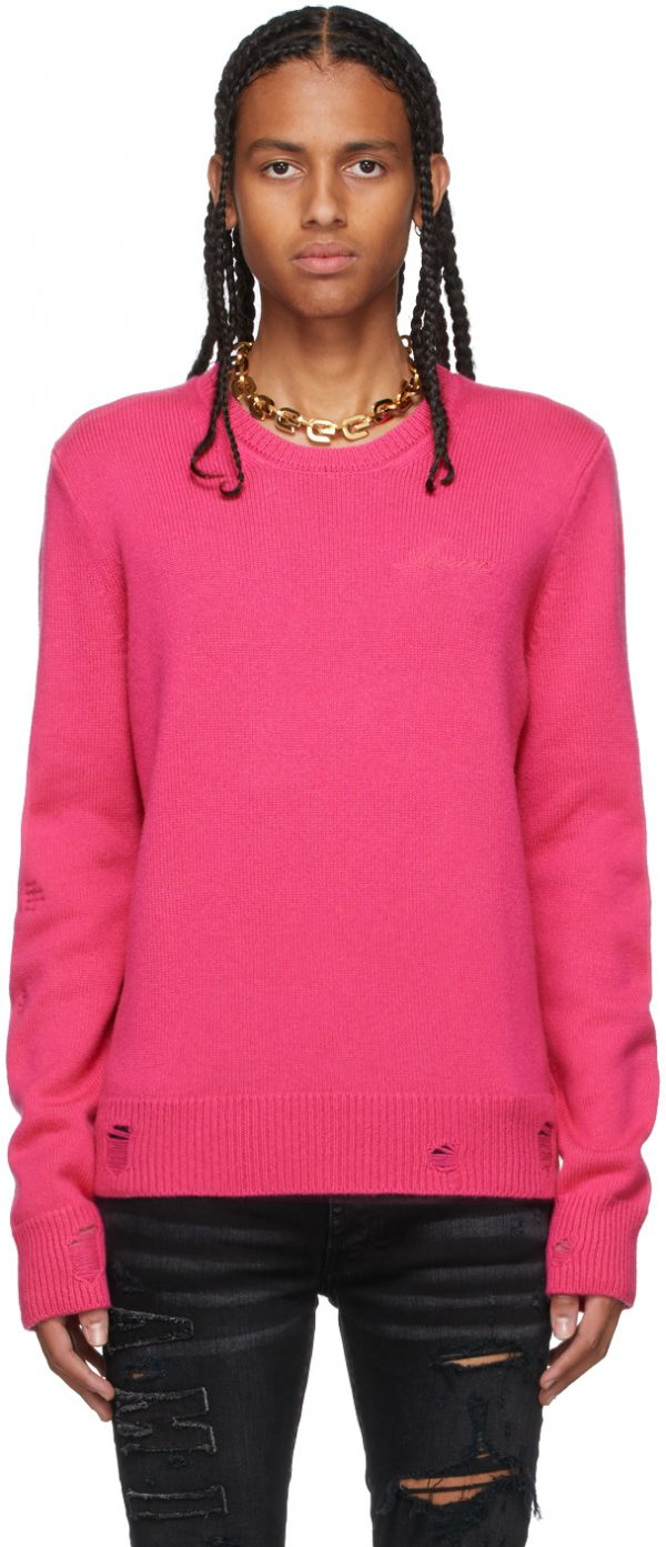 AMIRI Pink Cashmere Destroyed & Repaired Sweater