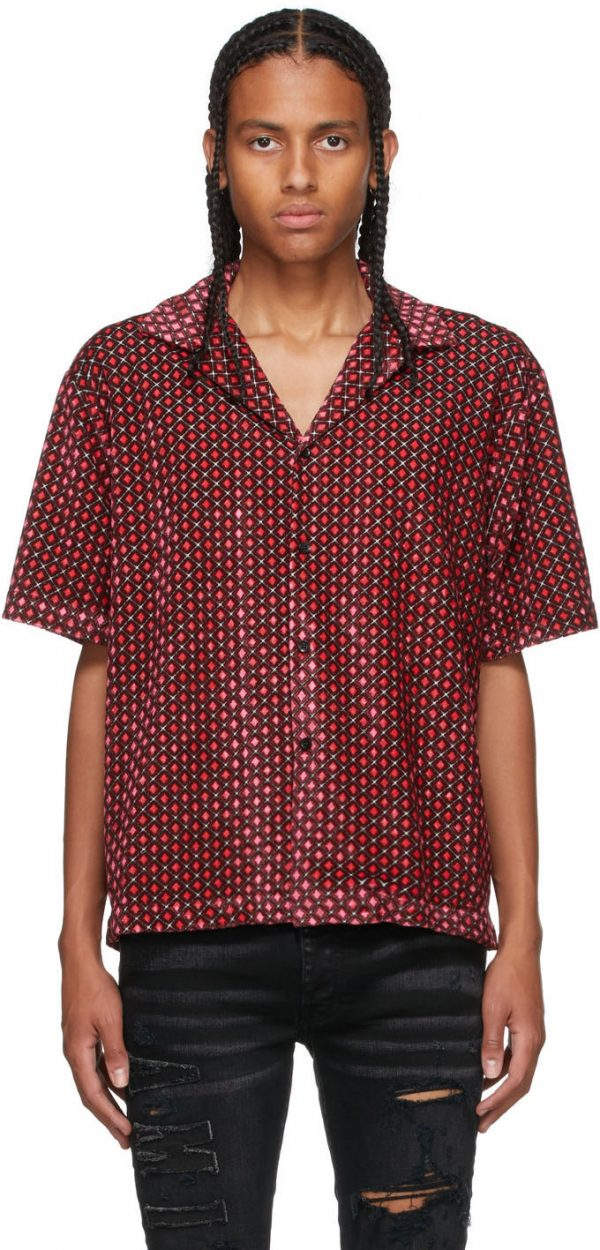 AMIRI Pink & Black Velour Retro Short Sleeve Shirt