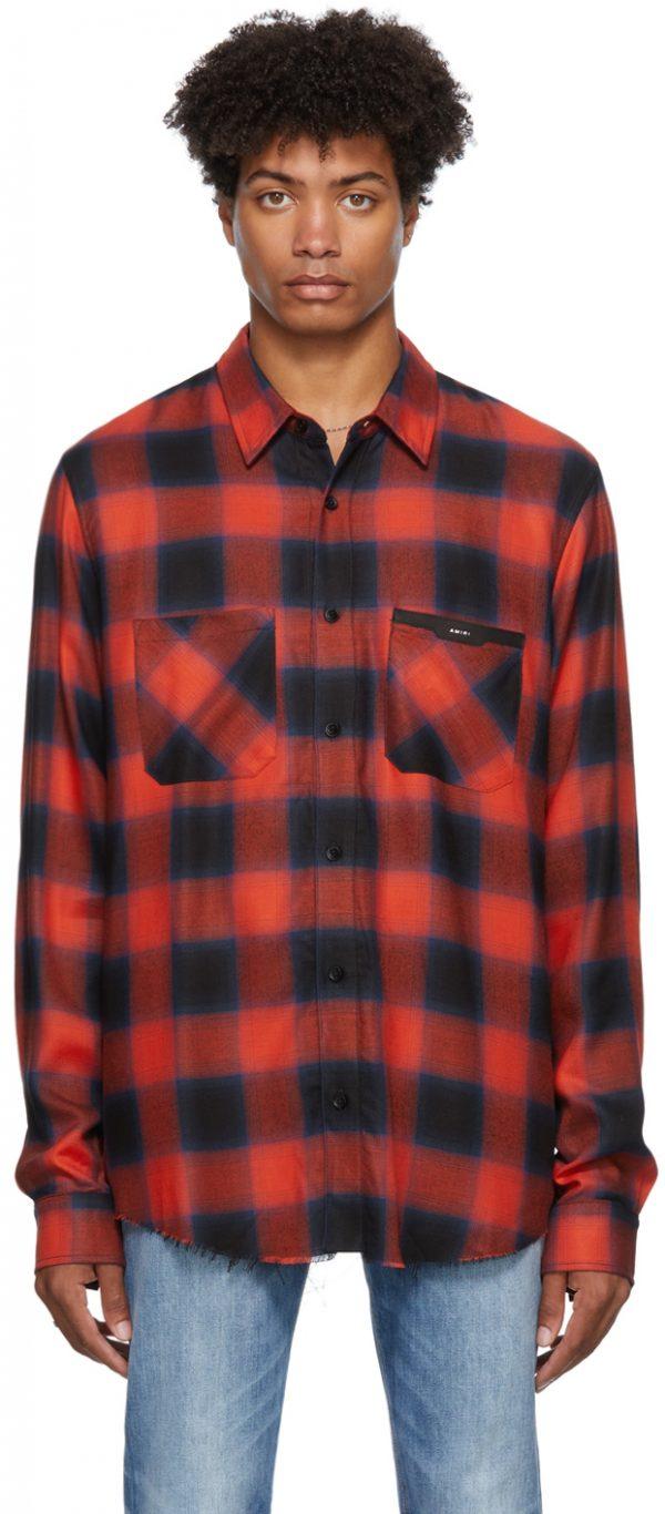 AMIRI Plaid Logo Appliqué Shirt