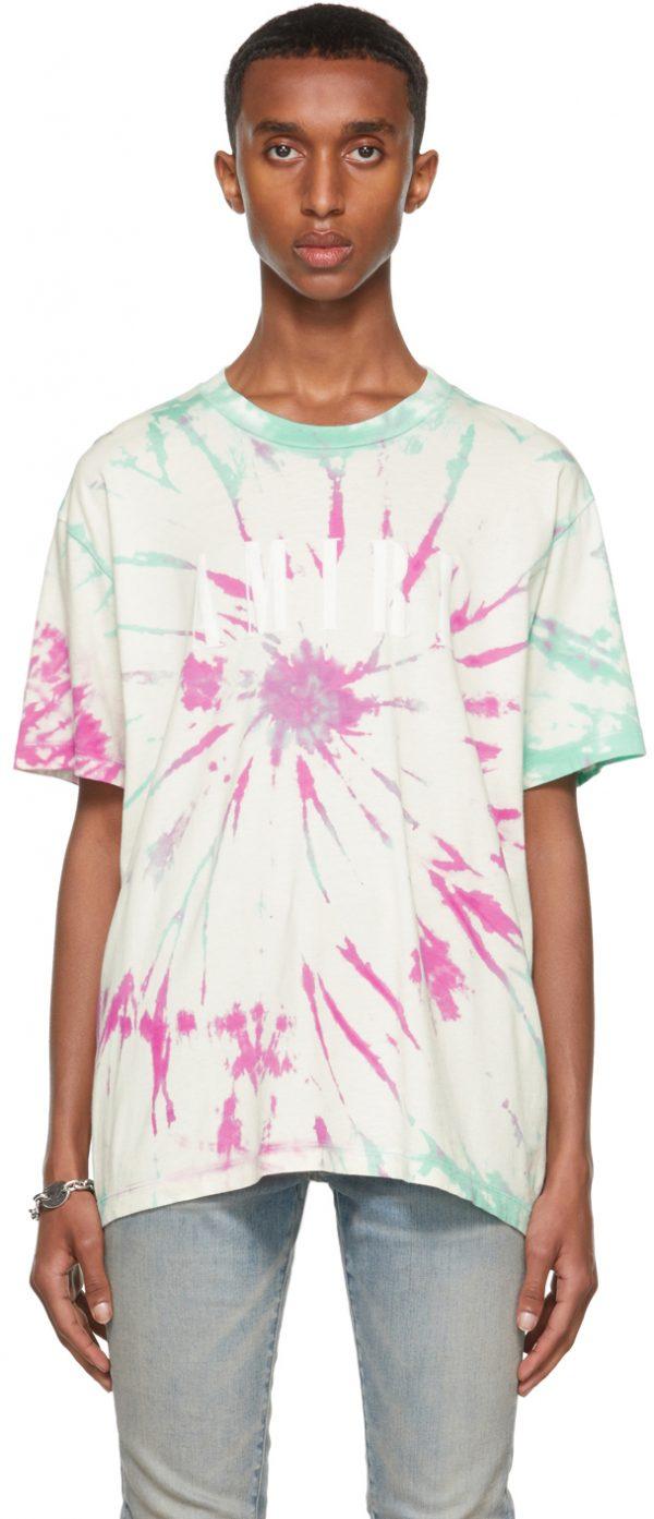 AMIRI Purple & Green Tie-Dye Core Logo T-Shirt