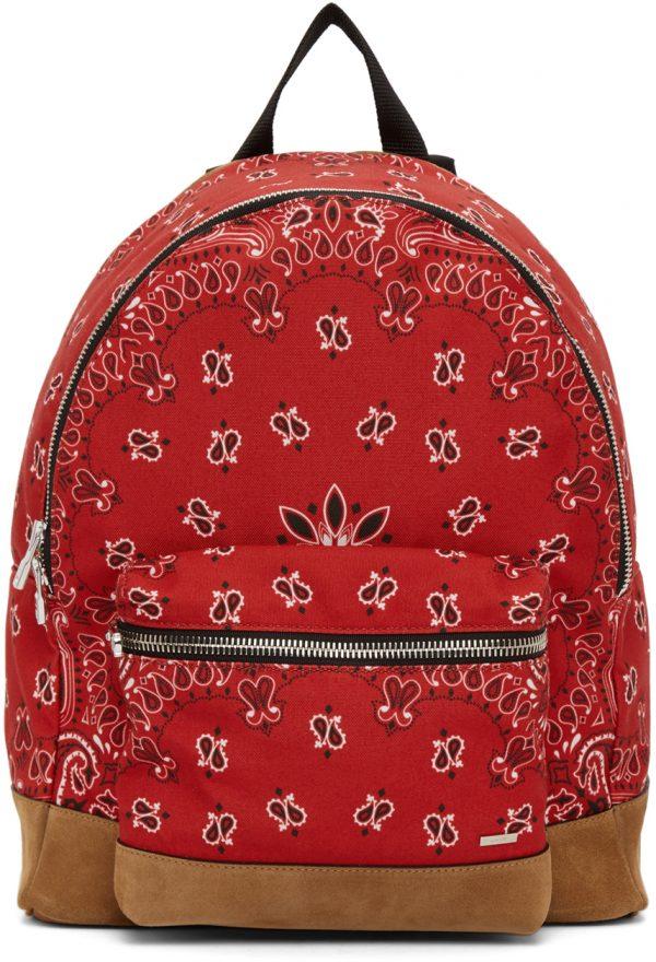 AMIRI Red Canvas & Suede Bandana Backpack
