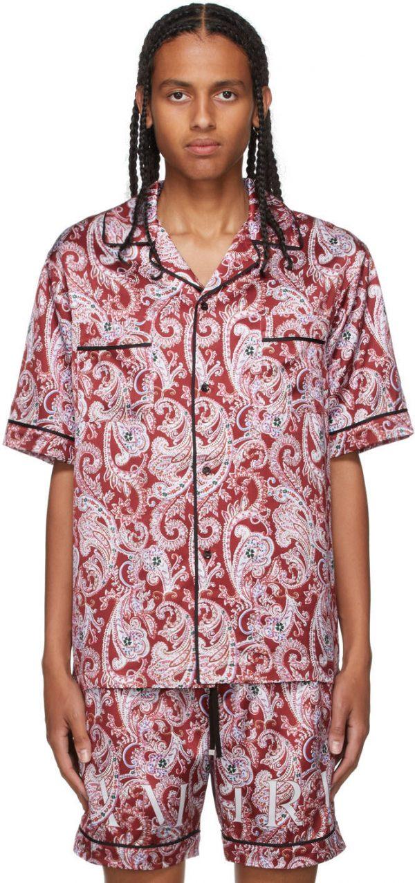 AMIRI Red Paisley PJ Short Sleeve Shirt