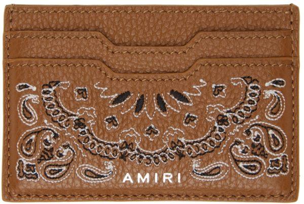 AMIRI Tan Bandana Card Holder