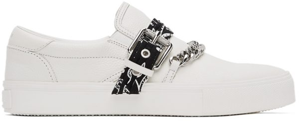 AMIRI White Bandana Chain Slip-On Sneakers