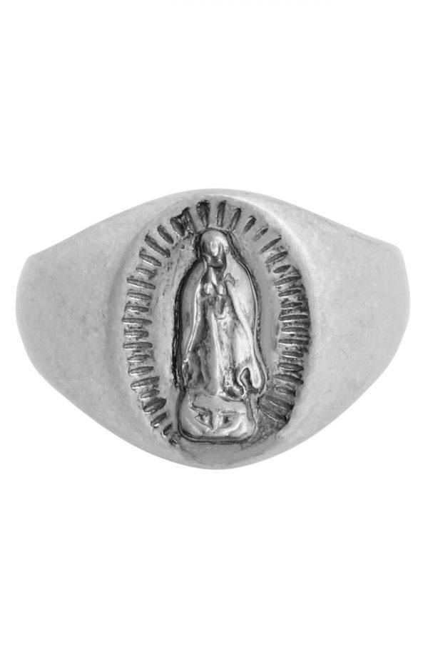 Allsaints Saint Engraved Sterling Silver Signet Ring