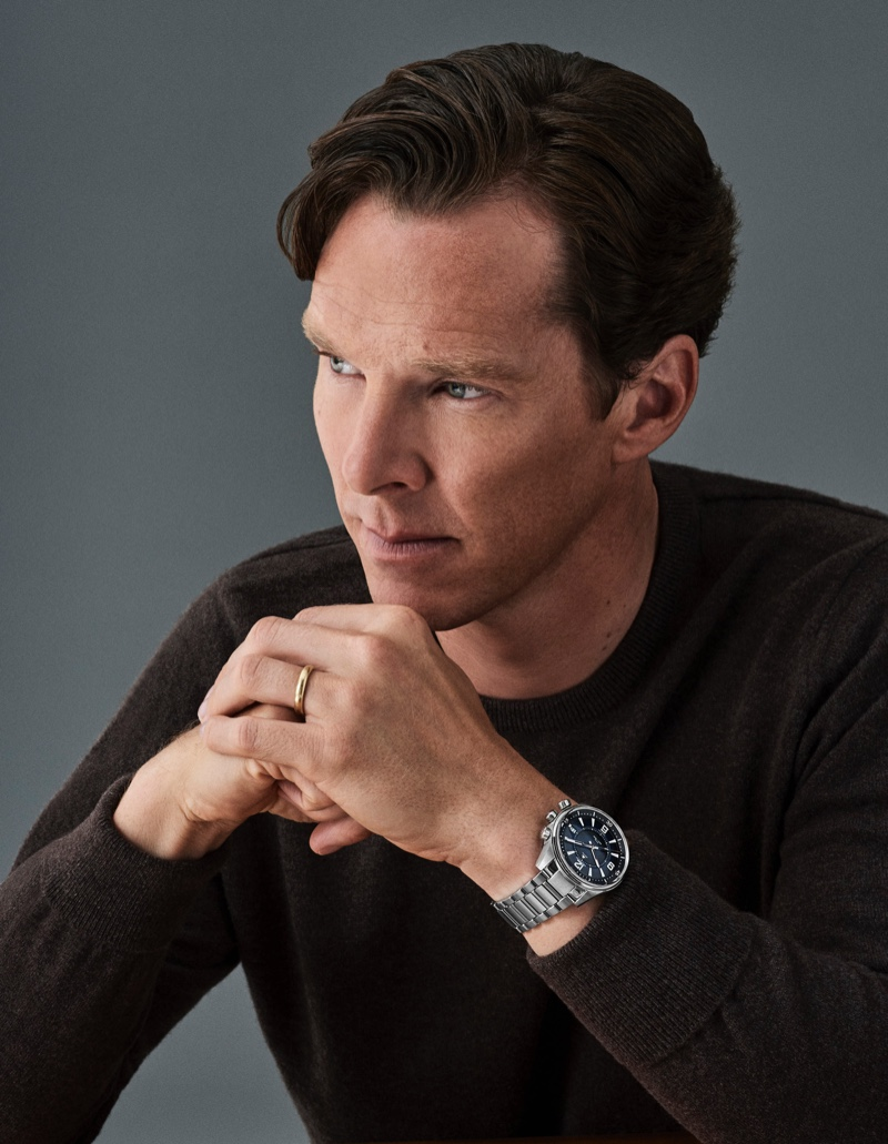 Benedict Cumberbatch wears Jaeger-LeCoultre's Polaris Mariner Memovox watch.