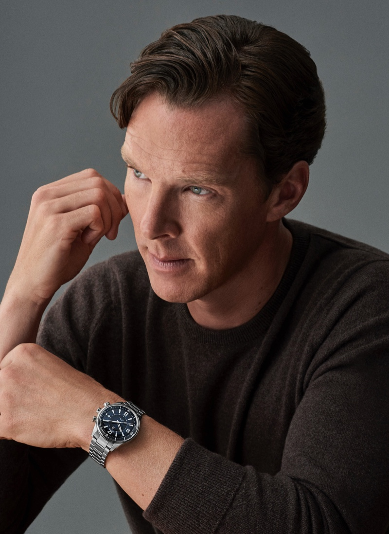 Ready for his close-up, Benedict Cumberbatch wears Jaeger-LeCoultre's Polaris Mariner Memovox watch.