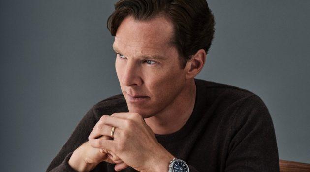 Actor Benedict Cumberbatch poses wearing Jaeger-LeCoultre's Polaris Mariner Memovox watch.