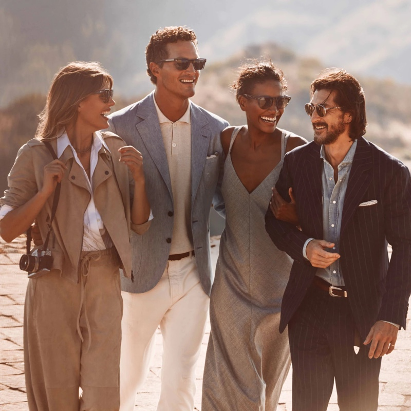 Models Madison Headrick, Arlenis Sosa, Ollie Edwards, and Ryan Porter front the fall-winter 2021 Brunello Cucinelli x Oliver Peoples eyewear campaign.