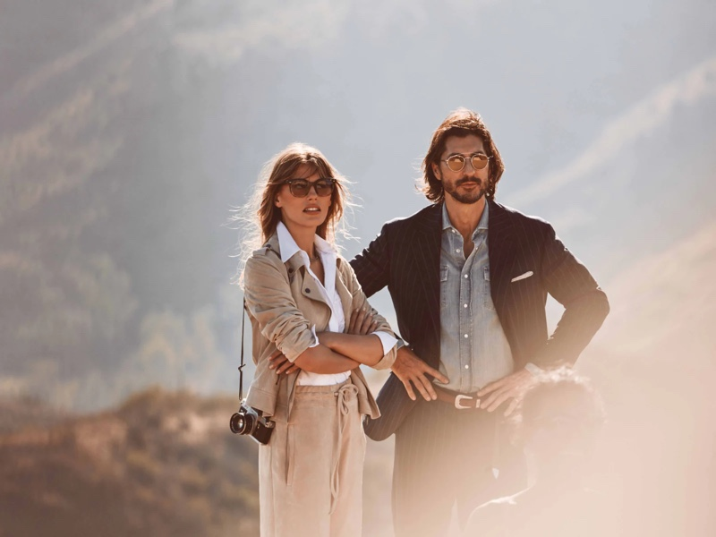 Madison Headrick and Ryan Porter appear in the fall-winter 2021 Brunello Cucinelli x Oliver Peoples eyewear campaign.