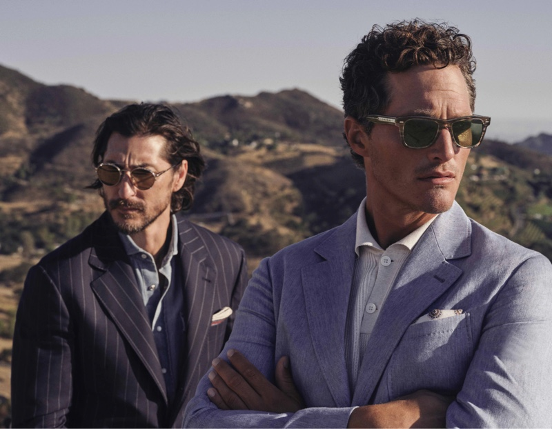 Dennis Leupold photographs Ryan Porter and Ollie Edwards for the fall-winter 2021 Brunello Cucinelli x Oliver Peoples eyewear campaign.