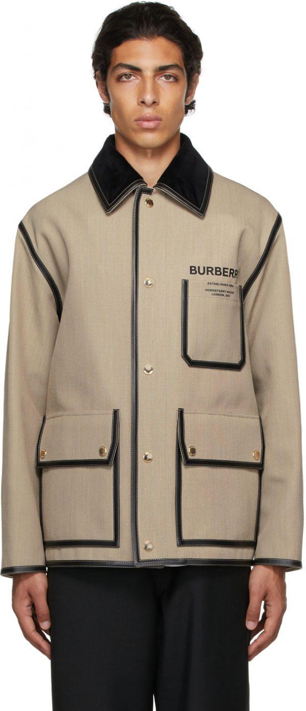 Burberry Beige Canvas 'Horseferry' Jacket