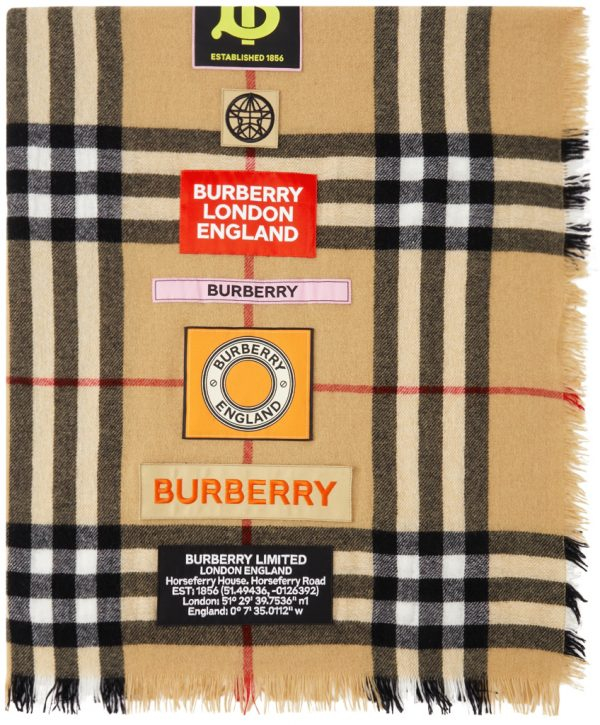 Burberry Beige Cashmere Midweight Label Square Scarf