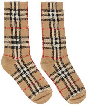 Burberry Beige Intarsia Check Mid Socks