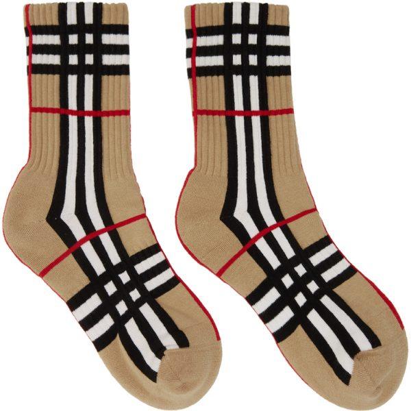 Burberry Beige Intarsia Check Technical Stretch Socks