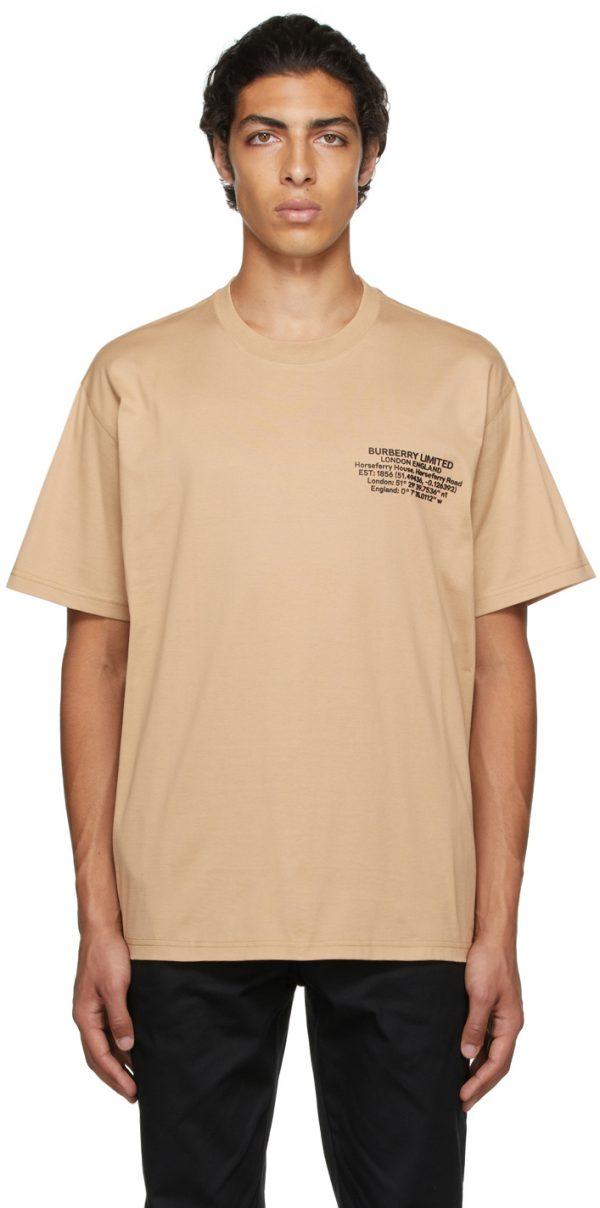 Burberry Beige Oversized Location Print T-Shirt