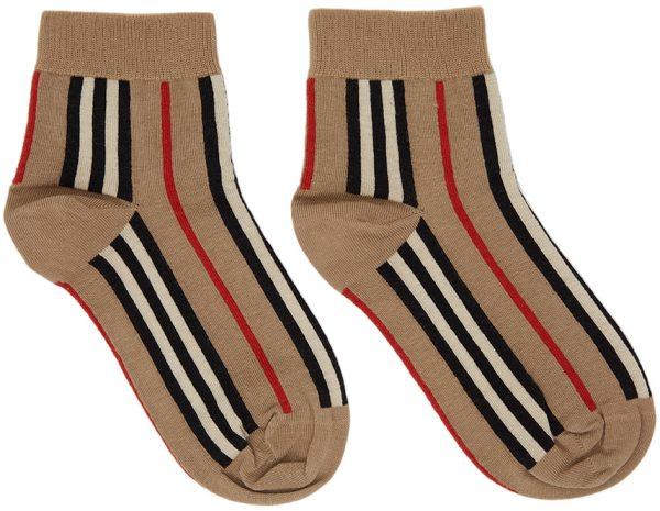 Burberry Beige Stripe Short Socks