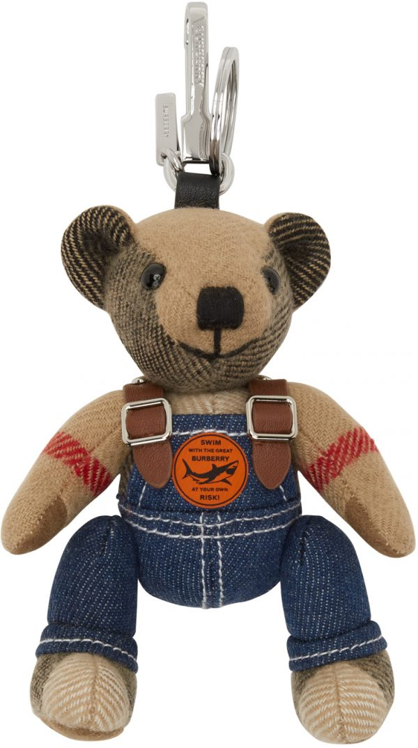 Burberry Beige Thomas Bear In Denim Keychain