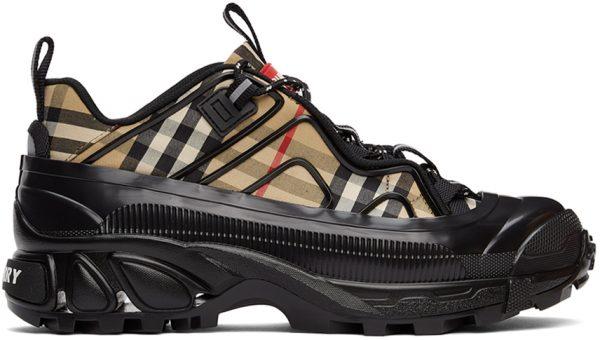 Burberry Beige & Black Check Arthur Sneakers