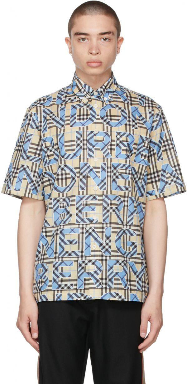 Burberry Beige & Blue Vintage Check Logo Short Sleeve Shirt