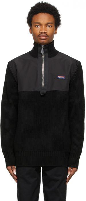 Burberry Black Cashmere Bidden Zip Sweater