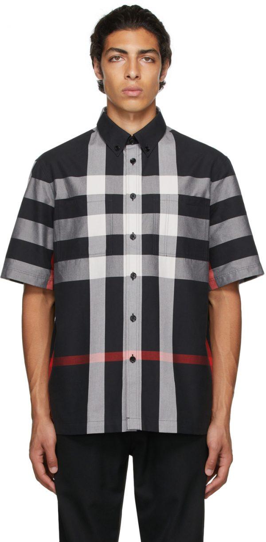 Burberry Black Cotton Check Short Sleeve Shirt