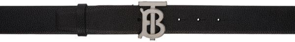 Burberry Black Grainy Leather Monogram Belt