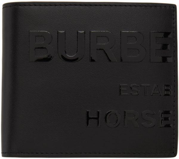 Burberry Black 'Horseferry' Print International Bifold Wallet