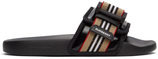 Burberry Black Icon Stripe Slides