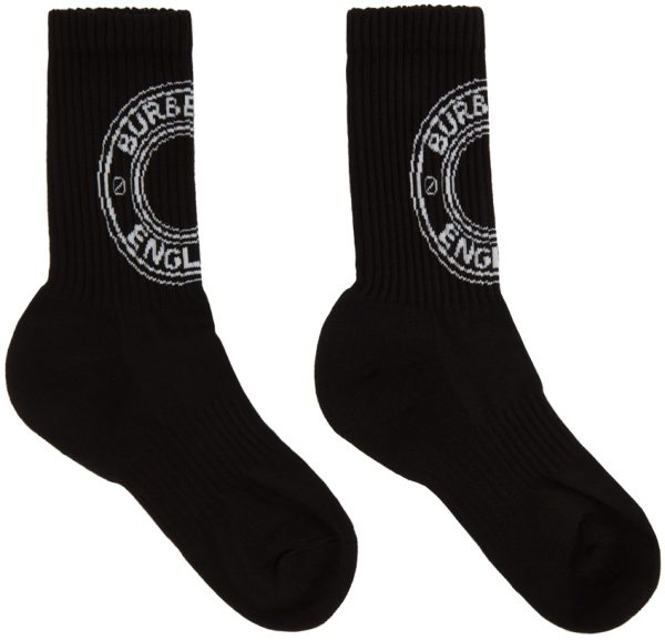 Burberry Black Intarsia Logo Socks