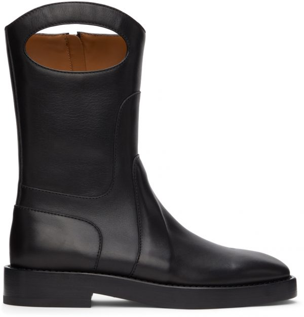 Burberry Black Leather Pocket Boots