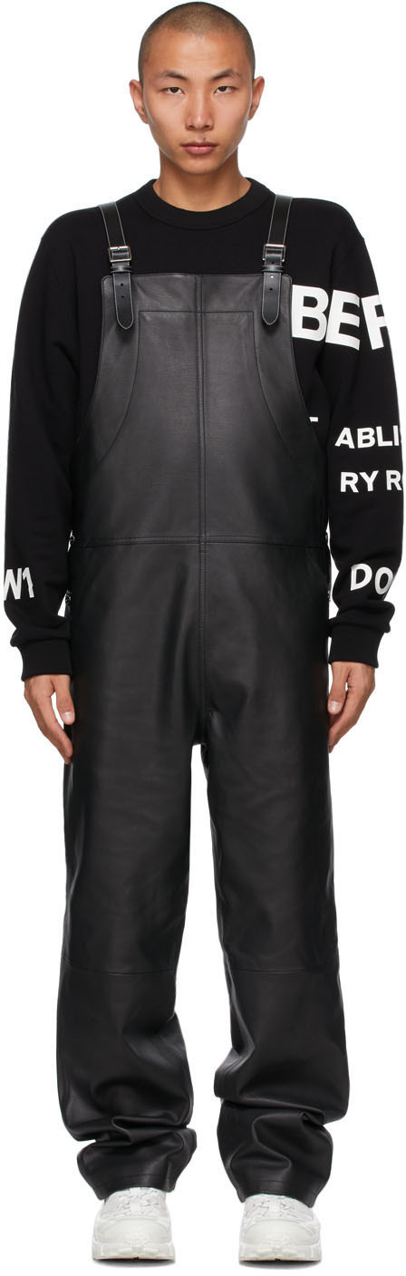 Burberry Black Leather Shark Fin Overalls