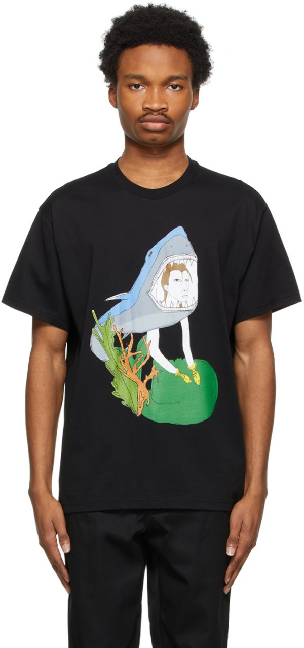 Burberry Black Marine Sketch Oversized T-Shirt