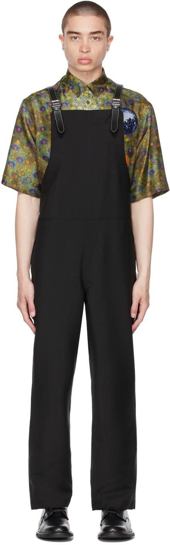 Burberry Black Mohair Bib-Front Overalls