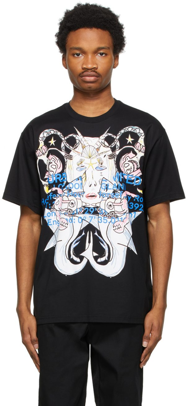 Burberry Black Montage Print Oversized T-Shirt
