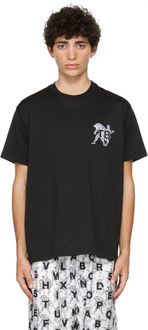 Burberry Black Mythical Alphabet Small 'TB' T-Shirt